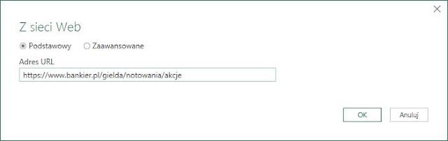 Okno wprowadzenia adresu URL