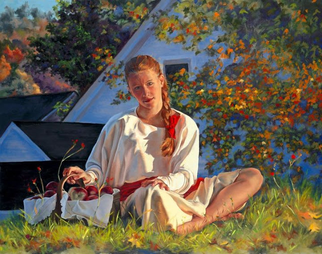 "Classical, Realist Finger Paintings- ""Mary Jane Q. Cross"" 1951, New Hampshire"