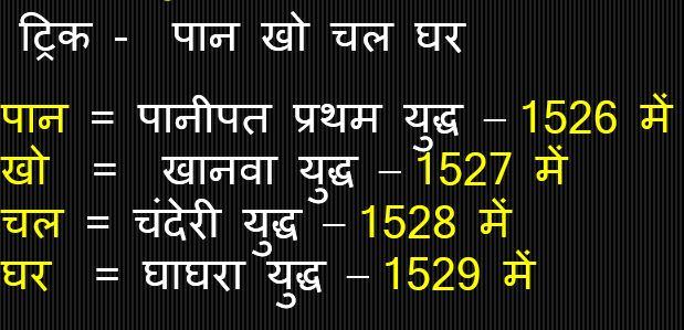 Gk Trick Hindi :बाबर द्वारा लड़े गए प्रमुख युद्ध