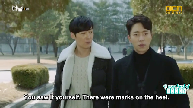 Gwang Ho and Sun Jae after the crime scene -  Tunnel: Episode 3