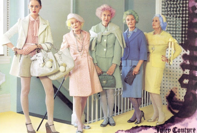 Pastel Juicy Couture as with older women in suits