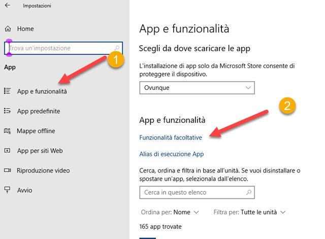 app e funzionalità di Windows 10