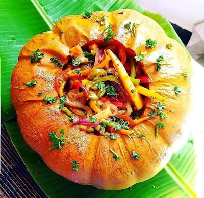 Dried Mushrooms and vegetables stuffed pumpkin