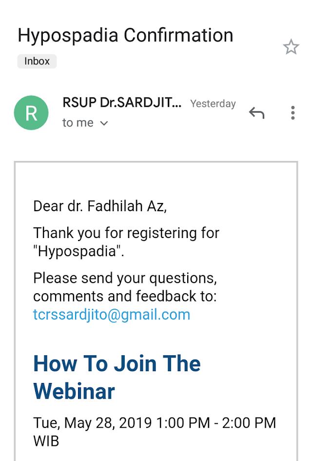 Free Webinar Topic Hypospadia (Selasa, 28 Mei 2019) jam 13.00-14.00 WIB