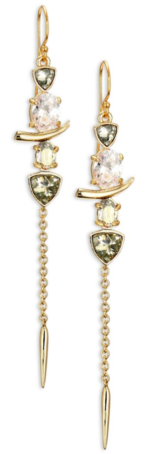 Alexis Bittar Miss Havisham Multi-Stone Dangling Spear Drop Earrings