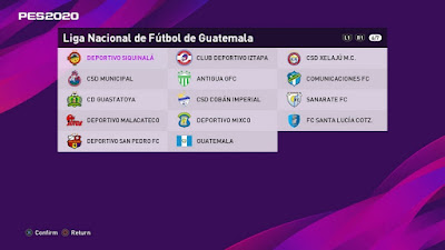 PES 2020 PS4 Option File Liga Guatemala 2020
