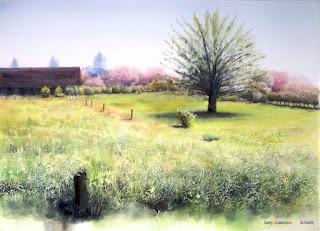 八重桜の頃 水彩画
