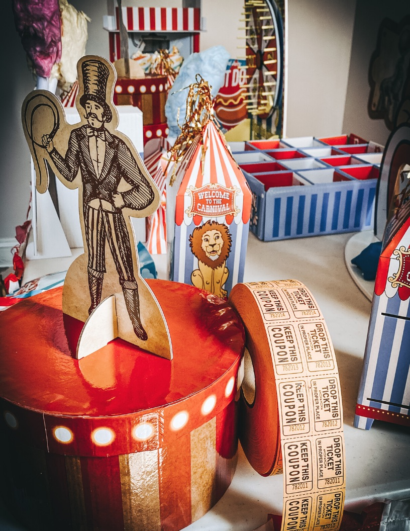 Circus props vintage carnival boxes