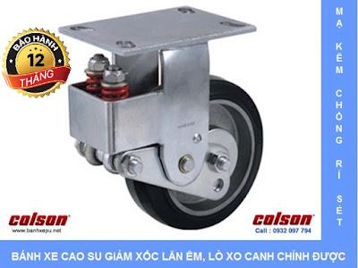 Bánh xe cao su lò xo giảm xóc Colson 200 chịu tải 400kg | SB-8508-648 banhxedayhang.net