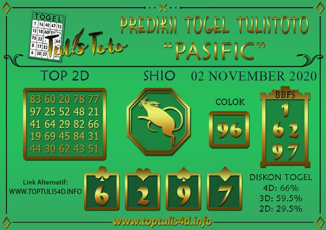 Prediksi Togel PASIFIC TULISTOTO 02 NOVEMBER 2020