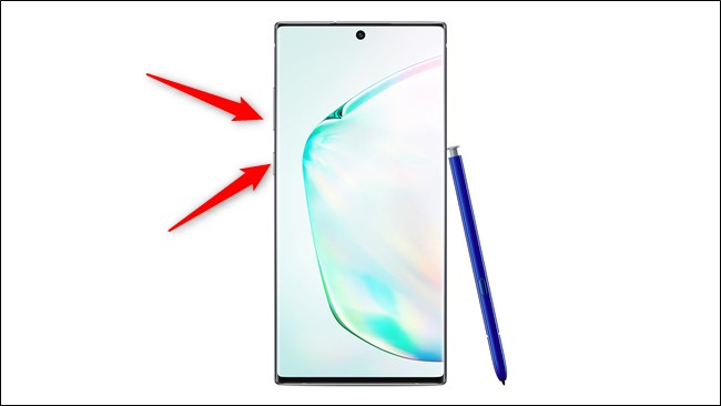 Samsung Galaxy Note 10 و 10 Plus اضغط على زر التشغيل وخفض الصوت