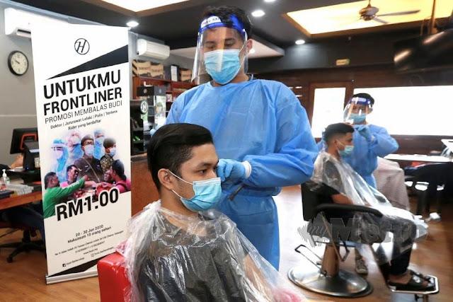 Promosi Potong RM1 Untuk Frontliners daripada hust babershop