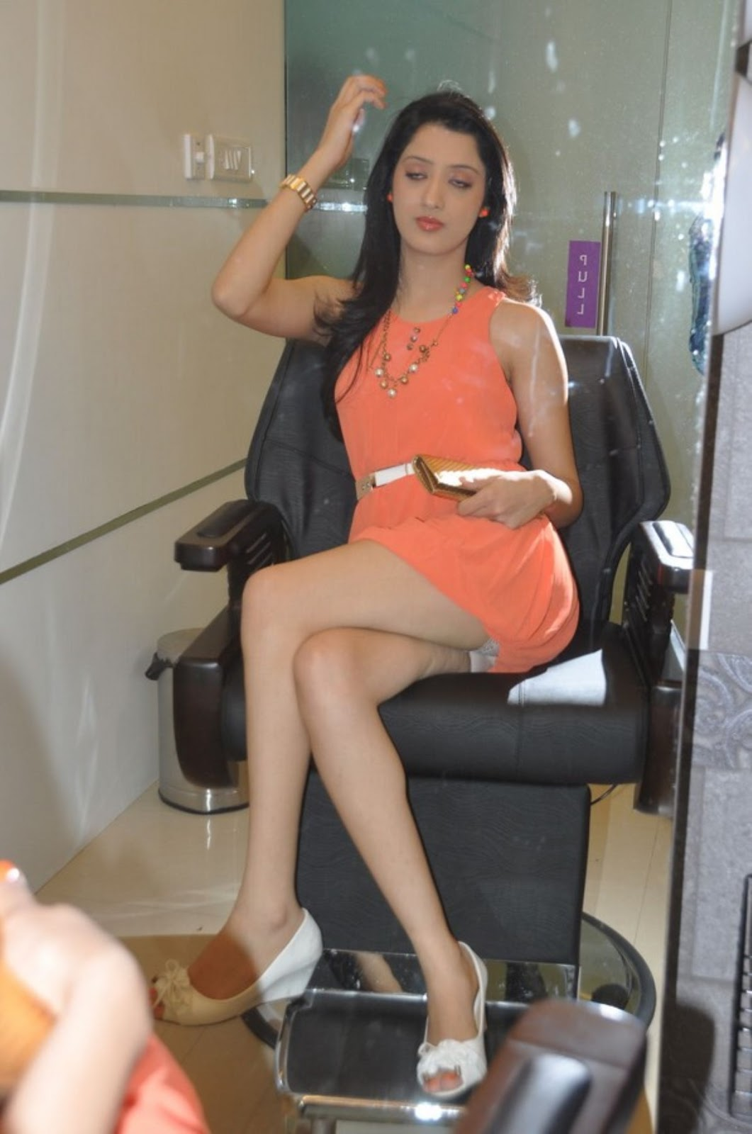Salon Erotic Richa Panai Hot Panty Show Photos At Naturals Salon Launch