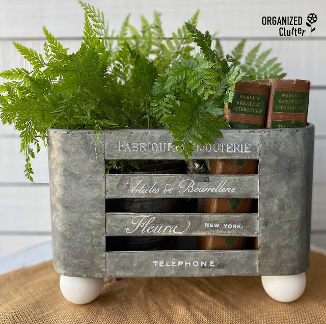 Photo upcycled galvanized container with fern & books