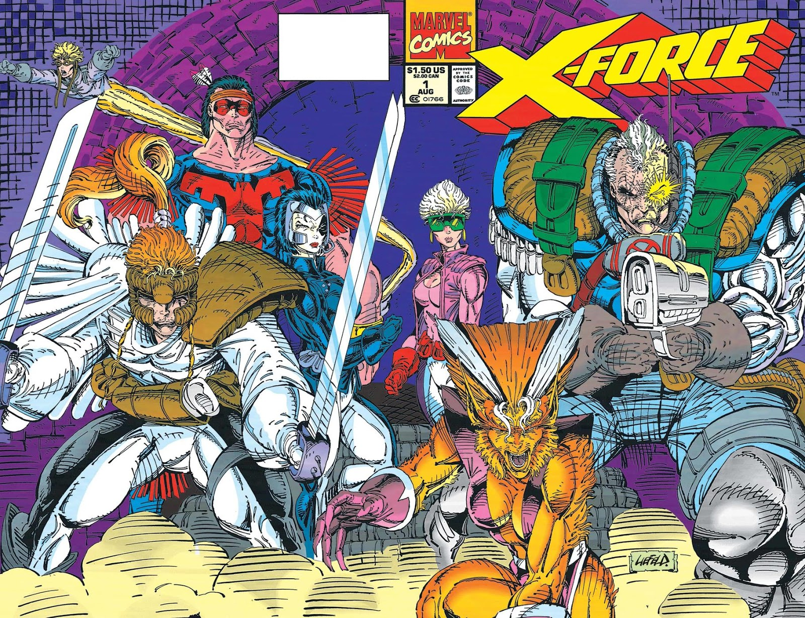 Rob Liefeld X-Force # 1 USA, 1991 X-Force team card