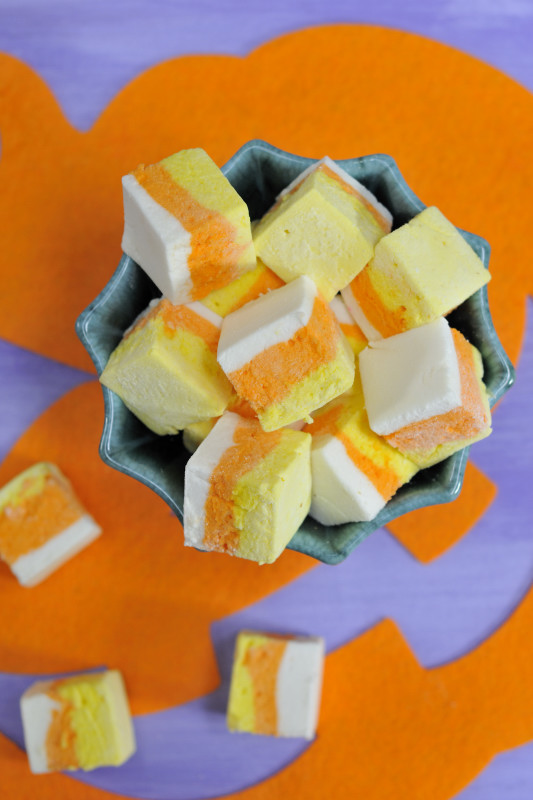 DIY Candycorn Marshmallows Recipe - via BirdsParty.com