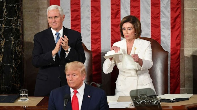 Nancy Pelosi tears copy of Trump speech right behind him (Video)