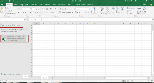 Filtur AutoRecover Pada Excel