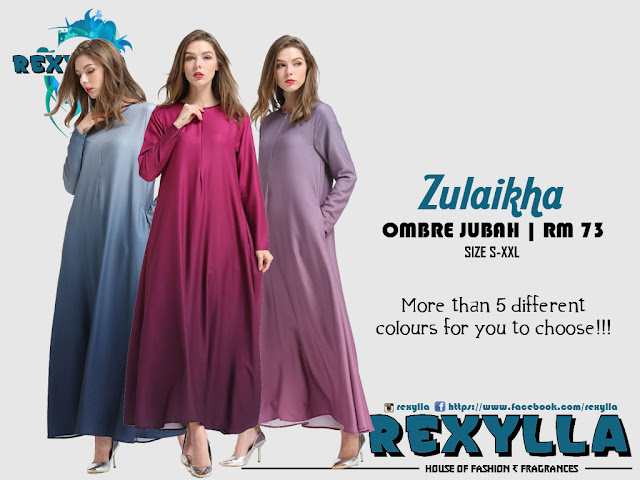 rexylla, ombre, ombre jubah, zulaikha collection
