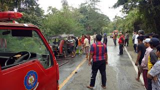 Terjadi Kemacetan Dijalan Poros Enrekang Toraja, Ternyata Ada Mobil Terbakar