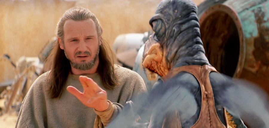 Qui-Gon Jinn încearcă un truc Jedi pe Watto în Războiul Stelelor: Ameninţarea Fantomei