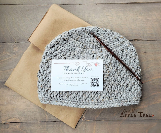 Custom Thank You Cards for Etsy with QR code, Over The Apple Tree