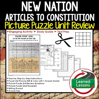 New Nation Picture Puzzle,  TEST PREP, UNIT REVIEWS, TEST REVIEWS, and STUDY GUIDES