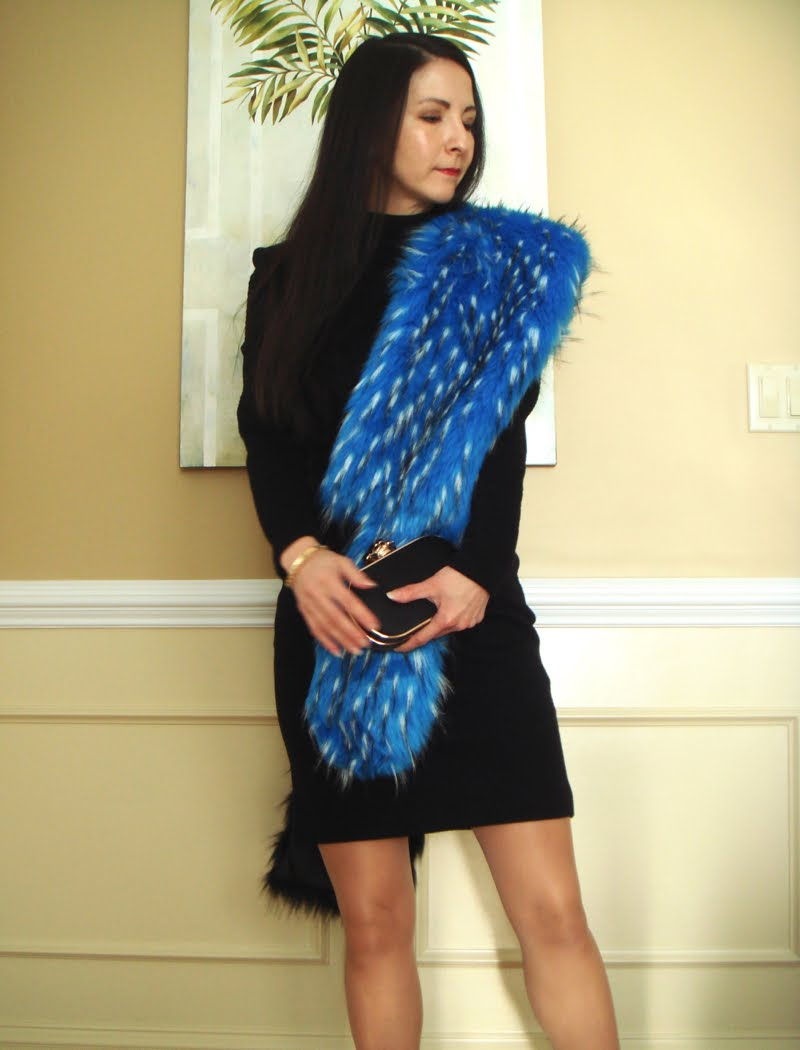 Formal Outfit with Blue Fur Stole - front view