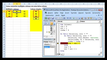 Transpor, dados, múltiplas, colunas, única, Macro, Excel