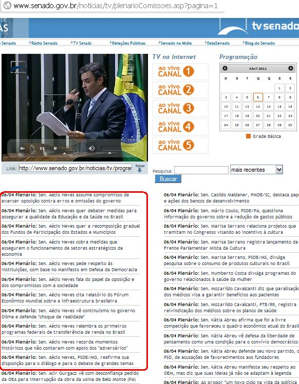 senador Aecio neves censura a TV SEnado