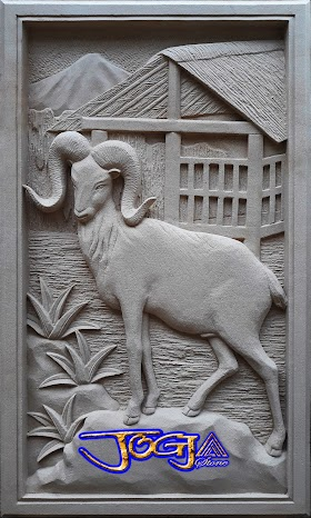 Relief batu alam motif kambing dogar