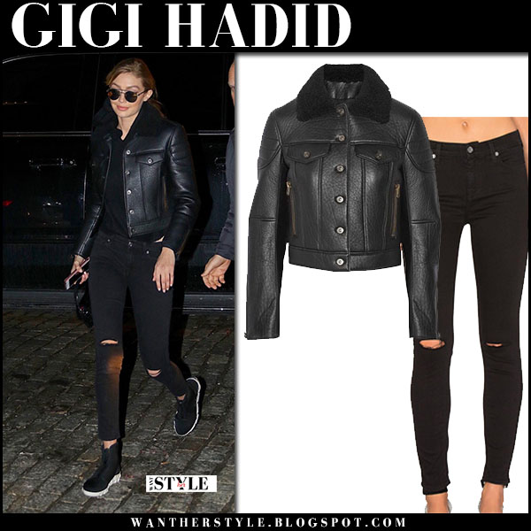 Gigi Hadid in black leather coach jacket and black skinny jeans 7 for all mankind bair model street style january 17