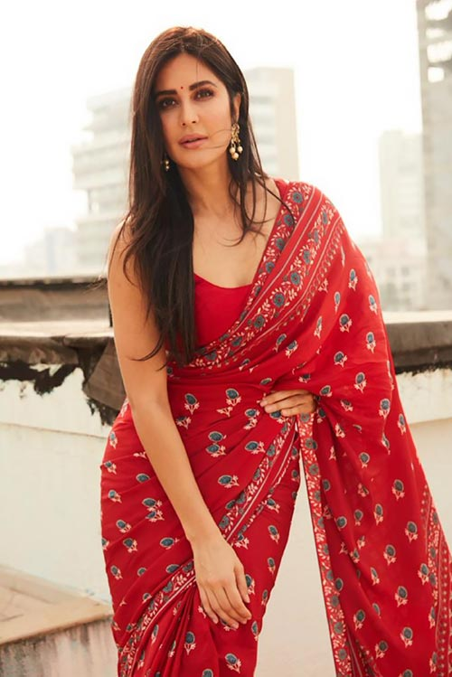Katrina Kaif in red saree bollywood actress