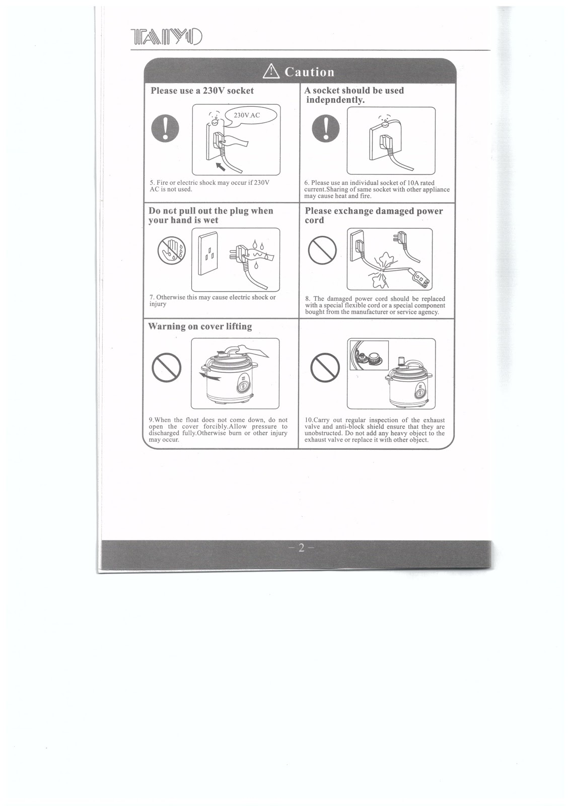 Healthy Living 123: Instruction Manual of Taiyo Pressure