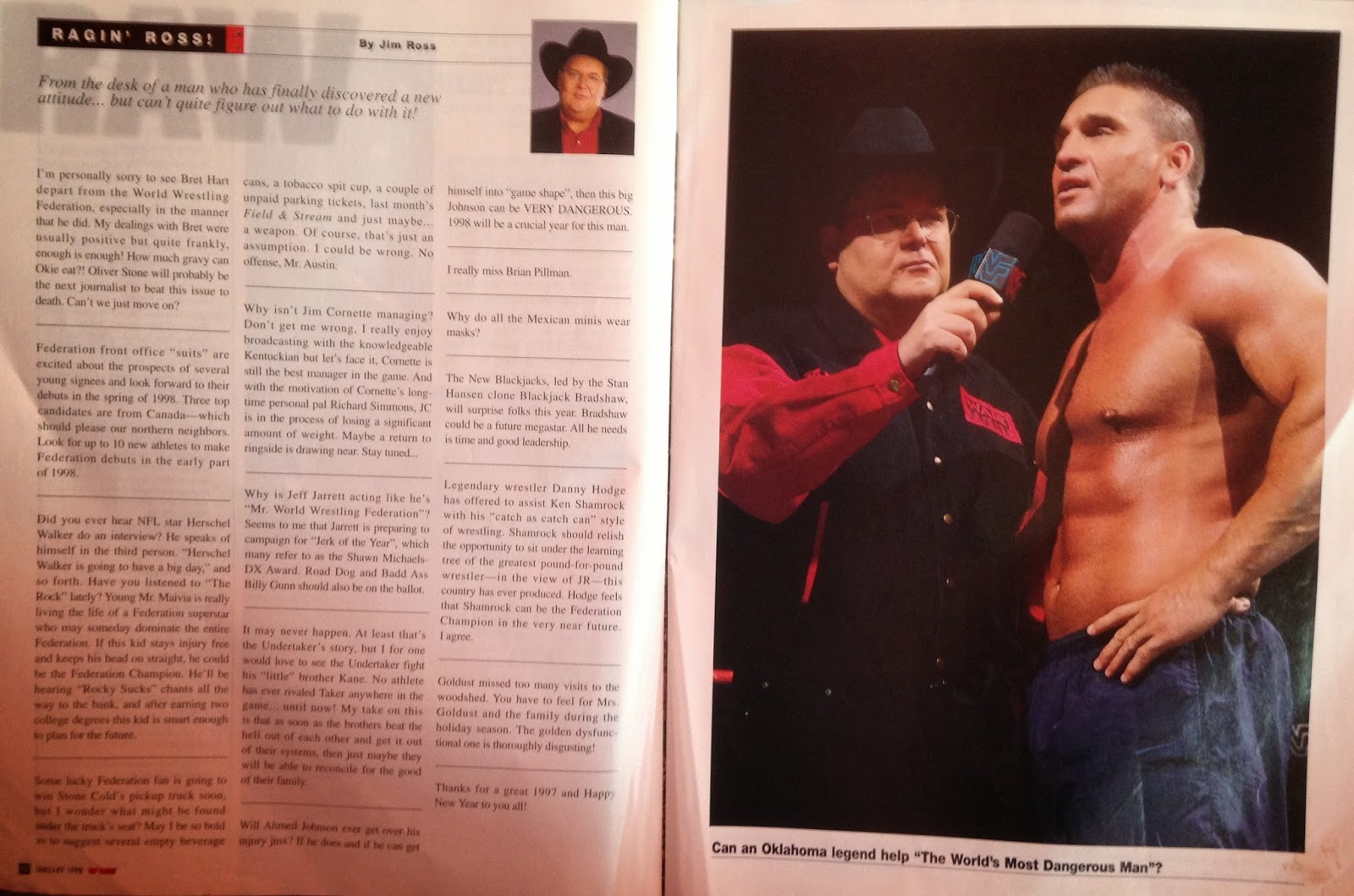 WWE: WWF RAW MAGAZINE - January 1998 - Jim Ross's report