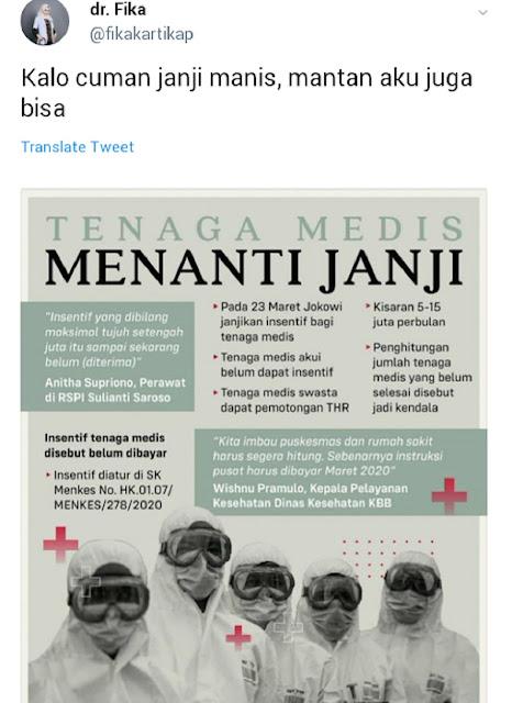Janji Pemerintah untuk Tenaga Medis, Dokter Fika: Kalau Cuma Janji Manis, Mantan Aku Juga Bisa!