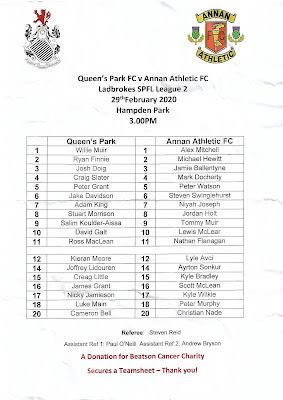 Teamsheet for Queens Park vs. Annan Athletic - 29-02-2020
