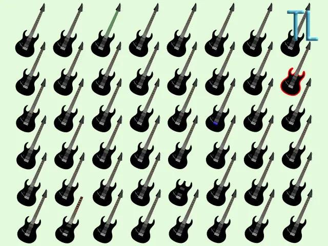 Encuentra las 5 guitarras diferentes