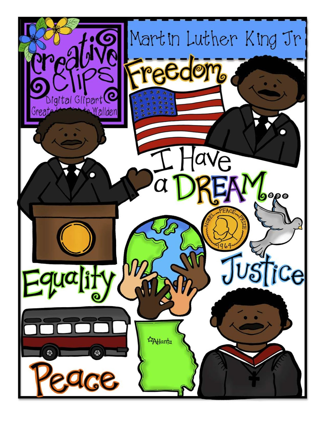 Martin Luther King Day Creative Clips Digital Clipart