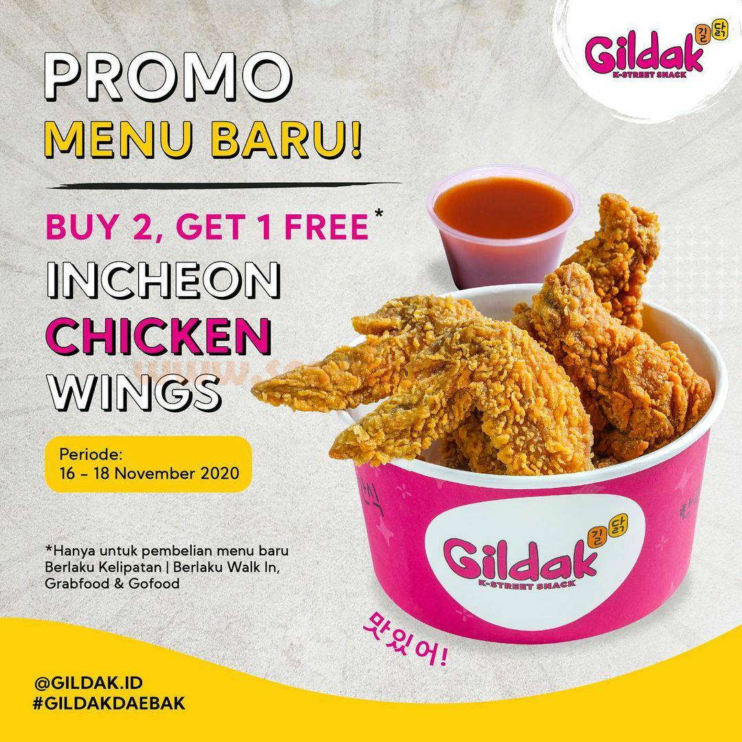 GILDAK Promo Menu Baru: Incheon Chicken Wings Buy 2 Get 1 Free