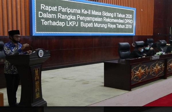 DPRD Mura Sampaikan Rekomendasi Terhadap LKPJ Bupati 2019