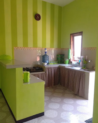model dapur minimalis warna hijau