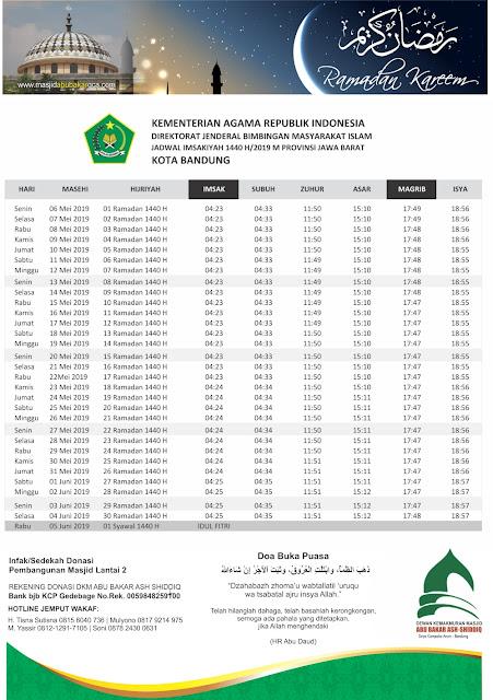 Jadwal Imsakiyah Kota Bandung - Puasa Ramadhan 1440 H / 2019 M