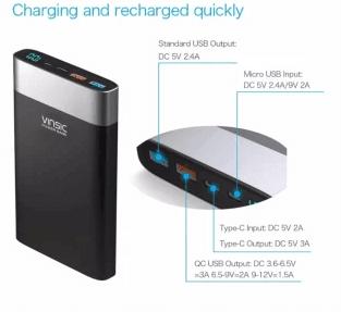 รีวิวขาย Power Bank แบตสำรอง VINSIC Quick Charge 3.0 Type-C