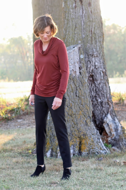 Style Maker Fabrics' Fall 2017 Style Tour -  Bamboo Rust Jersey in Angela Wolfe's Ruched T