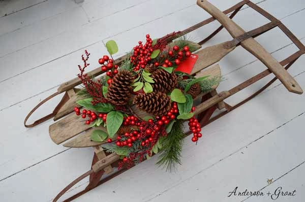 Decorating A Vintage Sled For Christmas