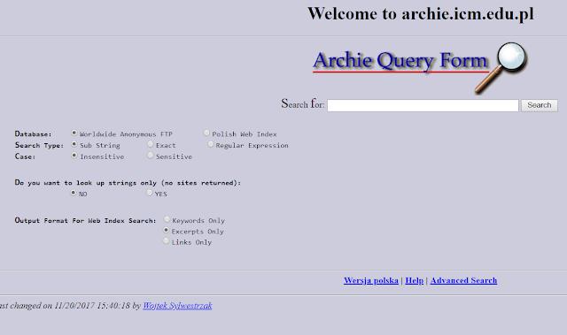 आर्की दुनिया का पहला सर्च इंजन था जो वेबसाइटों से फ़ाइलों को डाउनलोड करने का काम करता था।
