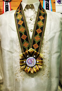 Premium Gold and Brown Rosette Ribbon Lei Necklace in a Formal Barong Tagalog