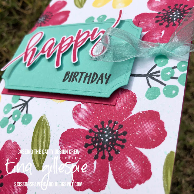 scissorspapercard, Stampin' Up!, CASEing The Catty, Pretty Perennials, Joy To The World Paper Pumpkin, Painted Labels Dies