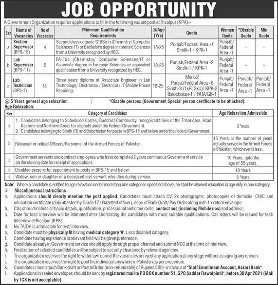 New Jobs in Pakistan PO Box 51 Rawalpindi Jobs 2021